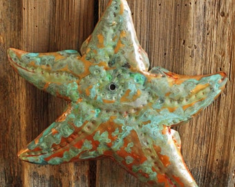 Seastar Starfish - copper metal sea life sculpture - wall hanging - with blue green patina - OOAK