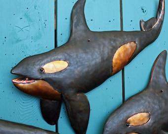 Orca Killer Whale II - copper metal blackfish marine mammal art sculpture - wall hanging - with slate-black verdigris patina - OOAK