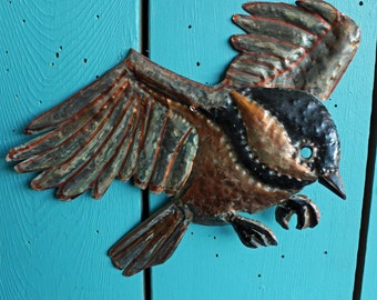 Black-capped Chickadee - copper metal flying songbird art sculpture - wall hanging - with black and verdigris blue-green patina - OOAK