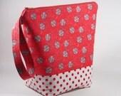 Balls of Yarn Knitting Project Bag - Tall Sock Project Bag - Zippered Project Bag - Crochet Project Bag - Tall Wedge Bag - Sock Sack - red
