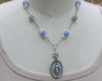 Mother Mary Necklace, Vintag Assemblage Jewelry, Religious Necklace, Virgin Mary Necklace, Blue Bead Necklace, Great Gift