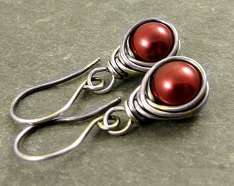 Cranberry Pearl Earrings, Wire Wrapped Gifts Under 30 Eco Friendly