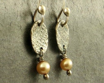 Freshwater Pearl Earrings PMC Jewelry Wire Wrapped Earrings