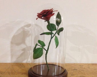 Beauty and the Beast Rose Glass Cloche Bell Jar, Beauty and the Beast centerpiece, enchanted Floating Rose ready to ship