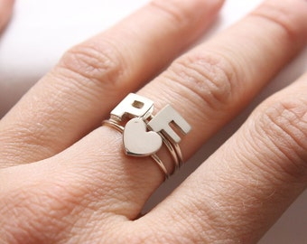 Initial Rings, Personalized Rings, Minimalist Rings, Initial Rings, Pebble Ring, Sterling Ring, Rings, Family Ring, Letter Ring, Simple