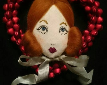 Christmas New Year Hanging Jingle Bell Heart Doll Face Decoration