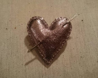SALE - Silver Leather Heart and Cupid Arrow Brooch