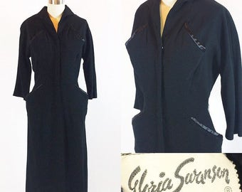 "Vintage 1950s Gabardine Dress | Gloria Swanson | 50s Cocktail Dress | 28"" Waist"