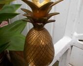 Small Mid Century Modern Brass Pineapple Candle Holder, Hollywood Regency Brass , Vintage Brass Pineapple, Mid Century Candle Holder