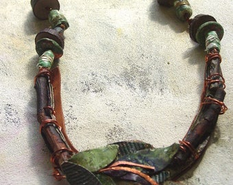 Forest Floor necklace upcycled in autumn colors