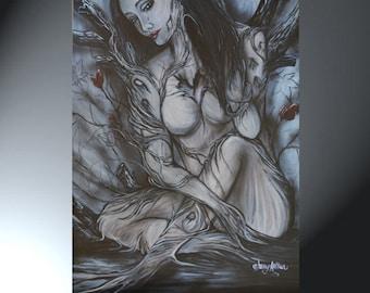 Sad Woman Nude Tree People Art Print of Original Painting Large Print 24x36