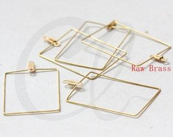 10pcs Raw Brass Rectangle Charm - 35x25mm (3319C-E-652)