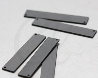 2 Pieces Matte Black Plated Brass Base Rectangle Link - 41x8mm (3095C-O-376)