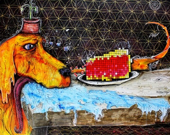 """Dog Painting -Sacred Geometry Art- Kitchen Decor - Food Art - PIE - """"What Is Life?""""  by Far Out Arts"""
