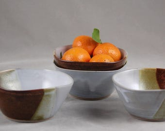 Bowls Set of 4 in White and Brick Small Everything Bowls Dessert Sauce Food Prep Side Dish Relish Serving
