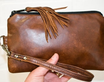 brown leather clutch, wrist clutch, wristlet, phone wallet, purse, leather tassel, make up bag, handmade, upcycled, repurposed, stacylynnc