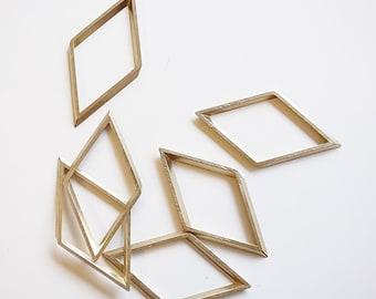 10 pieces of large raw brass rhombus shape 3d 25 x 49 x 1.5 mm