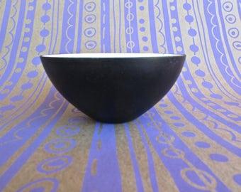 Herbert Krenchel 1953 Enameled Krenit Bowl in Matte Black & White, Copenhagen - Denmark