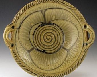 Carved-Leaf Cornucopia Bowl, hand thrown, ash glaze.