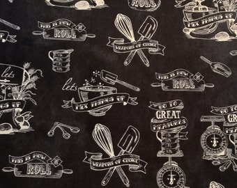 One (1) Yard - In the Kitchen Toile Fabric by Robert Kaufman Fabrics AUM-15456-184 Charcoal