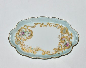 Antique Porcelain Hand Painted Gold Gilded Vanity Tray