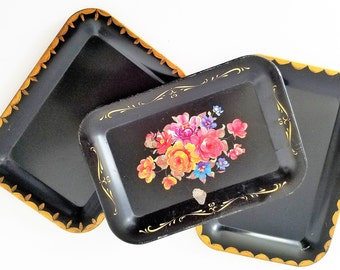 Vintage Small Black Metal Trays - Set of 3