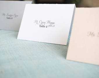Traditional and Simple White Wedding Place Cards | Escort Cards | Clasic Reception Place Card | Jessica & Jeffrey