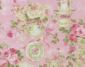 Powder Pink Shabby Chic Teacup Floral  New Cotton Window Curtain Valance