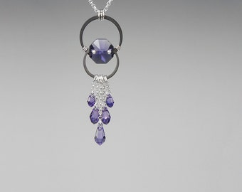 Tanzanite Swarovski Crystal Pendant, Tanzanite Swarovski, Industrial Necklace, Purple Crystal, Statement Necklace, Oort Cloud v14