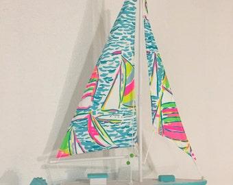 Model Sailboat made with Lilly Pulitzer You Gotta Regatta fabric