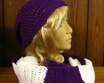 Purple Hat and Rugby Infinity Scarf, London Ontario Canada