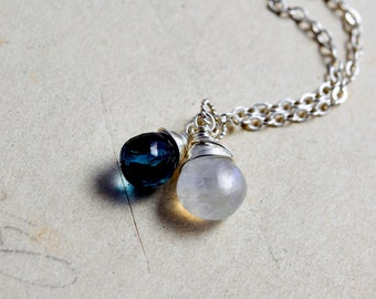 Midnight Moon Necklace, Moonstone Necklace, Blue Topaz Necklace, November Birthstone, Topaz Pendant, Wire Wrapped, Sterling Silver, Bue,