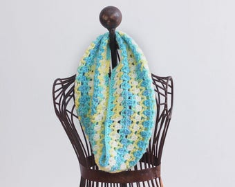 Spring Infinity Scarf, Blue, Aqua, White, Yellow Circle Scarf, Crochet Cowl Scarf,  Neckwarmer, Vegan Cowl