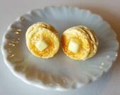 Pancake Stud Earrings - Food Jewelry - Polymer Clay - Breakfast Earrings