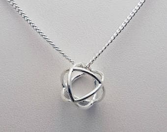 Geometric Necklace - Sterling Silver Circle Pendant - Open Circle - Layering Necklace - Everyday Necklace - Modern Necklace
