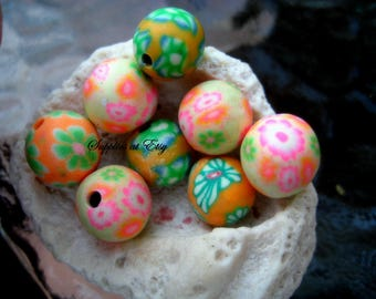 Sale  Polymer Clay Beads Round  beads 10mm-Fancy handmade Floral beads- Yellow green orange white colors