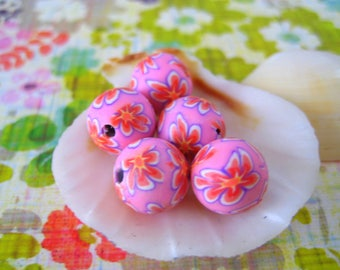 Sale pink orange  white Floral Polymer Clay Beads Round  beads 10mm-Fancy handmade Floral beads- white oink blue colors