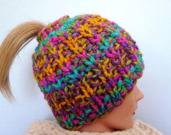 Knitting Pattern Chunky Rib Ponytail Messy Bun
