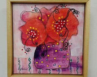 "Original Mixed Media, Floral, 5x5 "", Framed, Purple with Red Flowers, Cottage Chic, Wall Art"