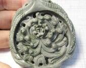 SALE 20% Off Carved Flower Serpentine Jade Briolette Pendant Bead ,Very Finely Carved Chrysanthemum,  OOAK
