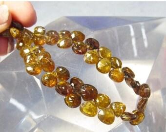 Rare Petro Tourmaline Briolette Beads,  7mm Natural Brazilian Gemstone Full Strand, Transparent