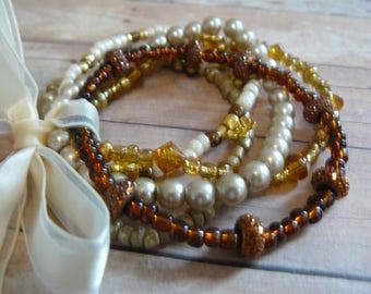 Multistrand Bracelet, Pearl Bracelet, Beaded Bracelet, Amber Bracelet, Handmade Jewelry, A Gift for Mom, Unique Handmade, One Size Fits All