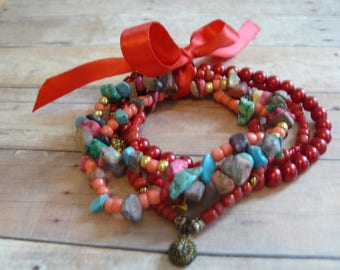 Red Multistrand Bracelet, Handmade, Unique Jewelry, Ready to Ship, Colorful Bracelet, One Size Fits all, Mother's Day Gift, Gift Ideas