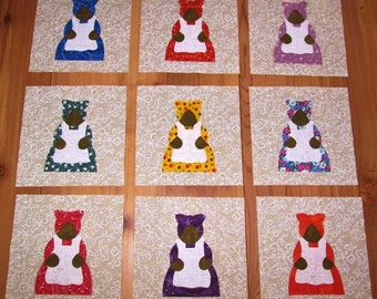 Set of 9 Bright Aunt Jemima Iron-on Fabric Appliques for Quilts & Clothing