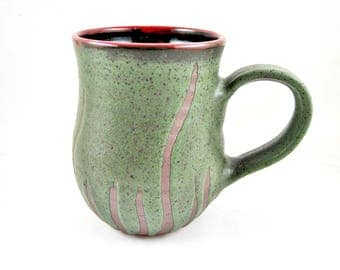 Handmade Pottery mug, Large ceramic coffee mug, seaweed green pottery, 20 oz mug. - In stock