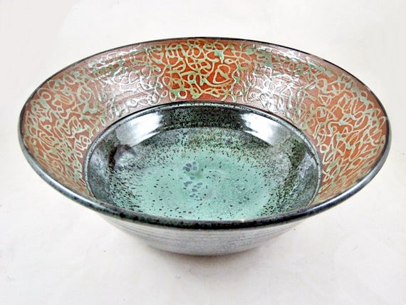 Second sale - Large decorative pottery serving bowl, Handmade salad bowl, home decor pottery bowl - In stock 94 SB