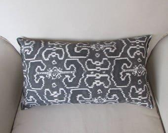 12x22 Gray Ikat accent/lumbar/bolster pillow
