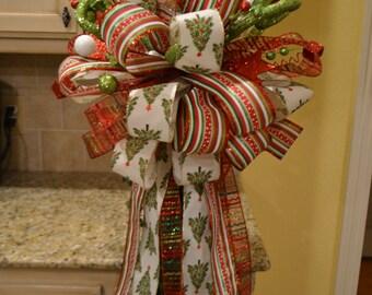 Whimsical Christmas Tree Ribbon Tree Topper