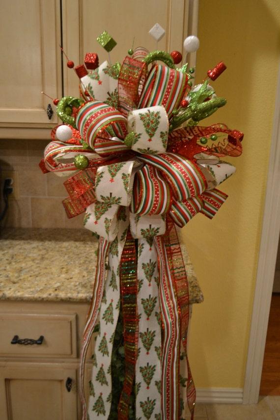 whimsical christmas tree ribbon tree topper. Black Bedroom Furniture Sets. Home Design Ideas