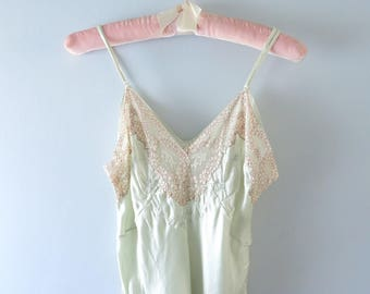 1930s Pale Green Step In Teddy - 30s Bias Cut Green Silk Chemise - 1920s 1930s Lingerie Size M